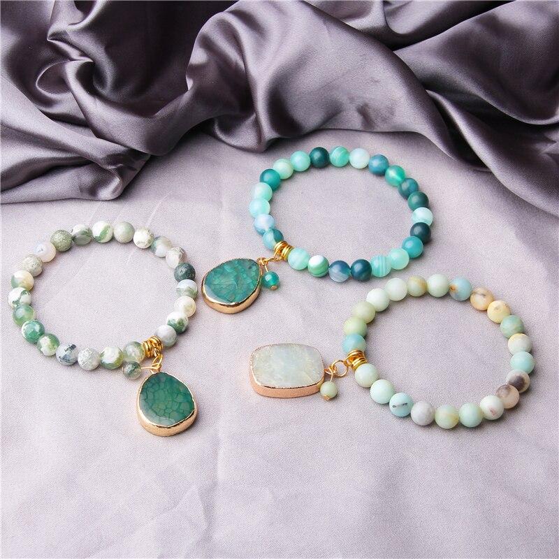 Natural Stone Bracelets Druzy charm bracelet female stone Beads Bracelet Handmade Gold stone Pendant Bracelet Women gift jewelry(China)