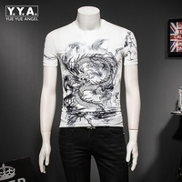 2019 New Summer Short Sleeved T Shirt Round Neck Large Size Chinese Dragon Printing Male Casual Clothes Fashion Tops White Black
