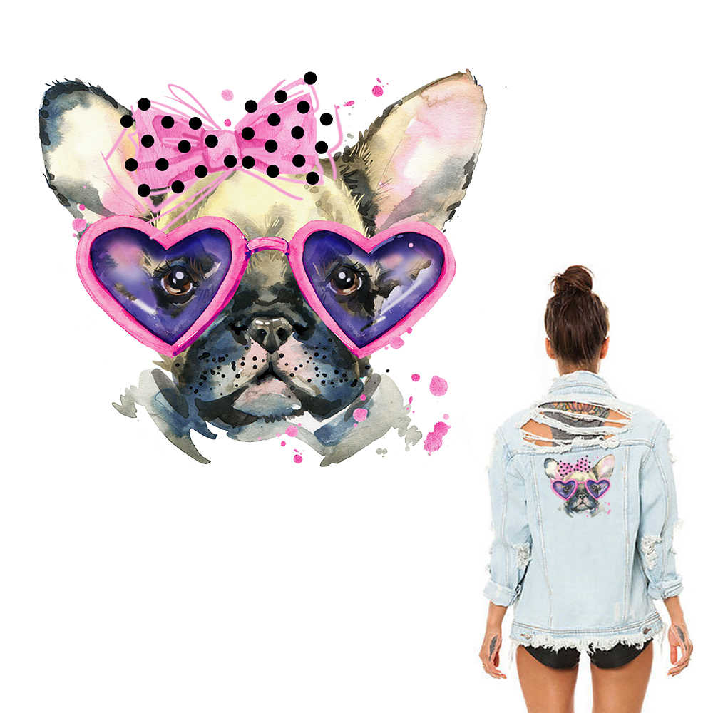 Animal Patches Set Cute Dog Heat Transfer Iron on Clothes Patches Washable Badges DIY Patch Thermal Stickers on Clothes Gifts