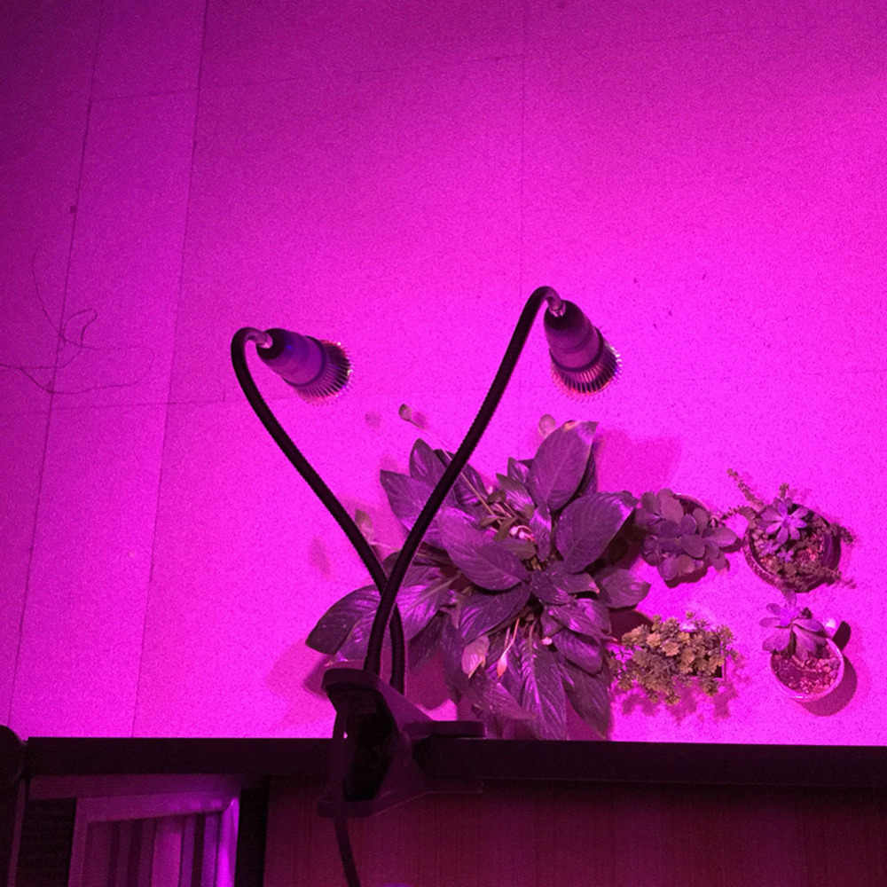 LED à spectre complet grandir lumière UV IR double tête 28 W plante pousser lampe ensemble kit support de bureau on/off pour hydroponique serre Aquarium