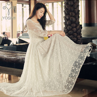 YOSIMI 2017 Summer High Quality Maxi Elegant Lace Long Dress Tunic Dress Slim White Fairy Dress