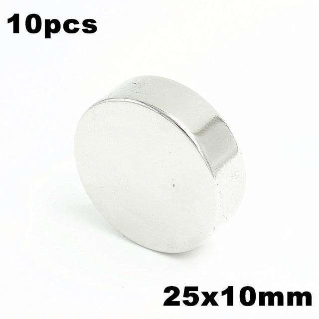 10pcs 25x10mm Super Powerful Strong Bulk Small Round NdFeB Neodymium Disc Magnets Dia 25mm x 10mm N35  Rare Earth NdFeB Magnet