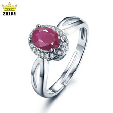 Natural Ruby ring real women gem stone rings genuine solid 925 sterling silver jewelry gold plated