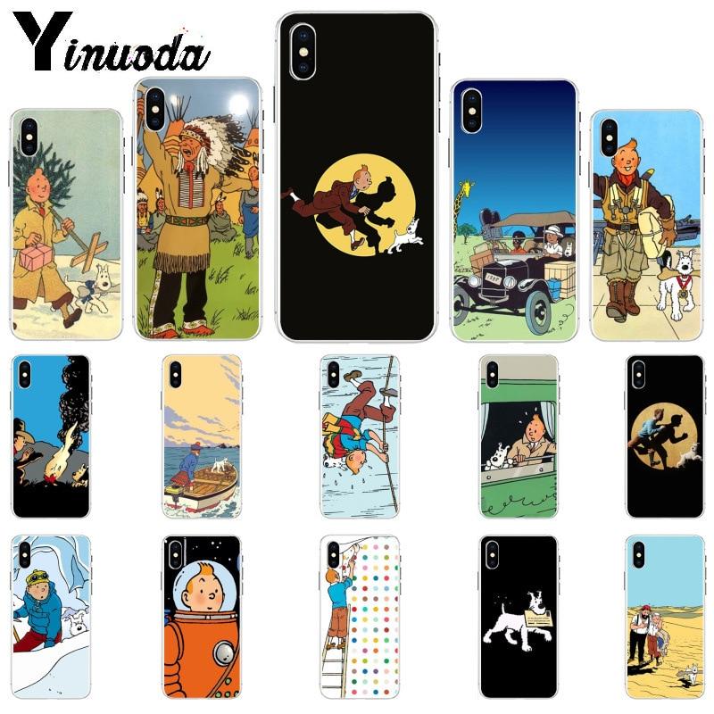 Genteel Yinuoda Tintin Ddark Illustration Moon Dog Custom Photo Soft Phone Case For Iphone 6s 6plus 7 7plus 8 8plus X Xs Max 5 5s Xr Complete Range Of Articles Phone Bags & Cases