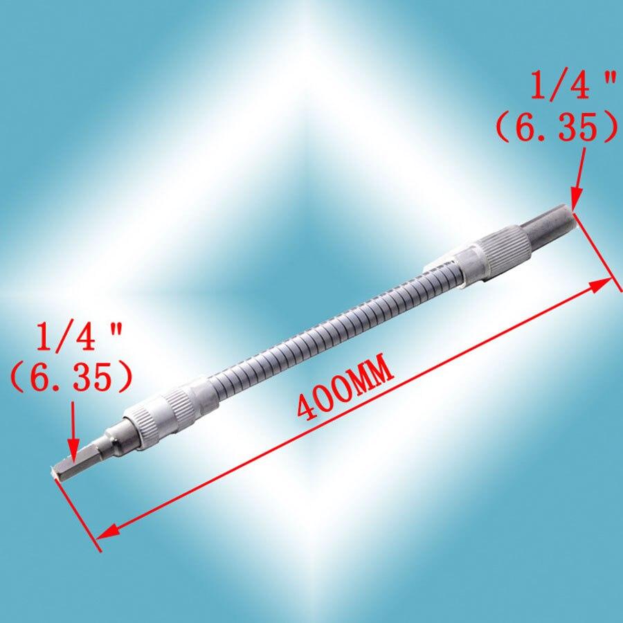 150-400 мм гибкий инструмент вала, металлическая дрель, отвертка, держатель бит, соединение звеньев, многотуль, шестигранный хвостовик, удлинитель, змеиное долото - Цвет: 400