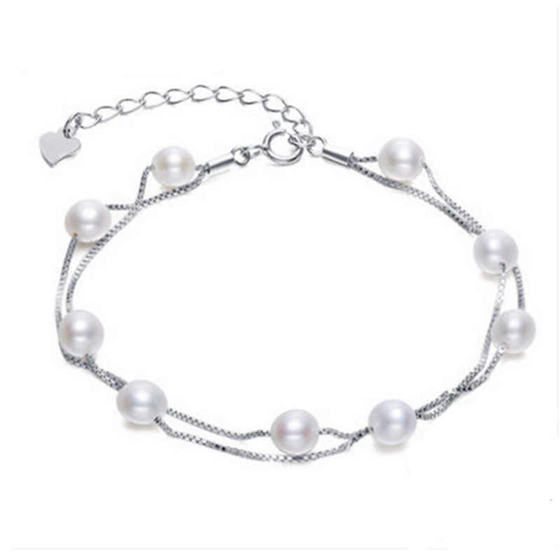 2019 Double-deck design Sterling silver bracelet real natural pearl Bracelet  jewelry bracelets for women Free shipping