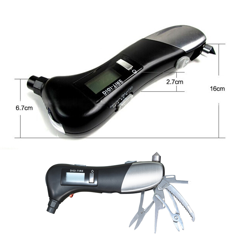 Car Digital LCD Tire Pressure Gauge Auto Measurement Tools LED Display 6 in 1 Car Rescue Camping Emergency Torch Light