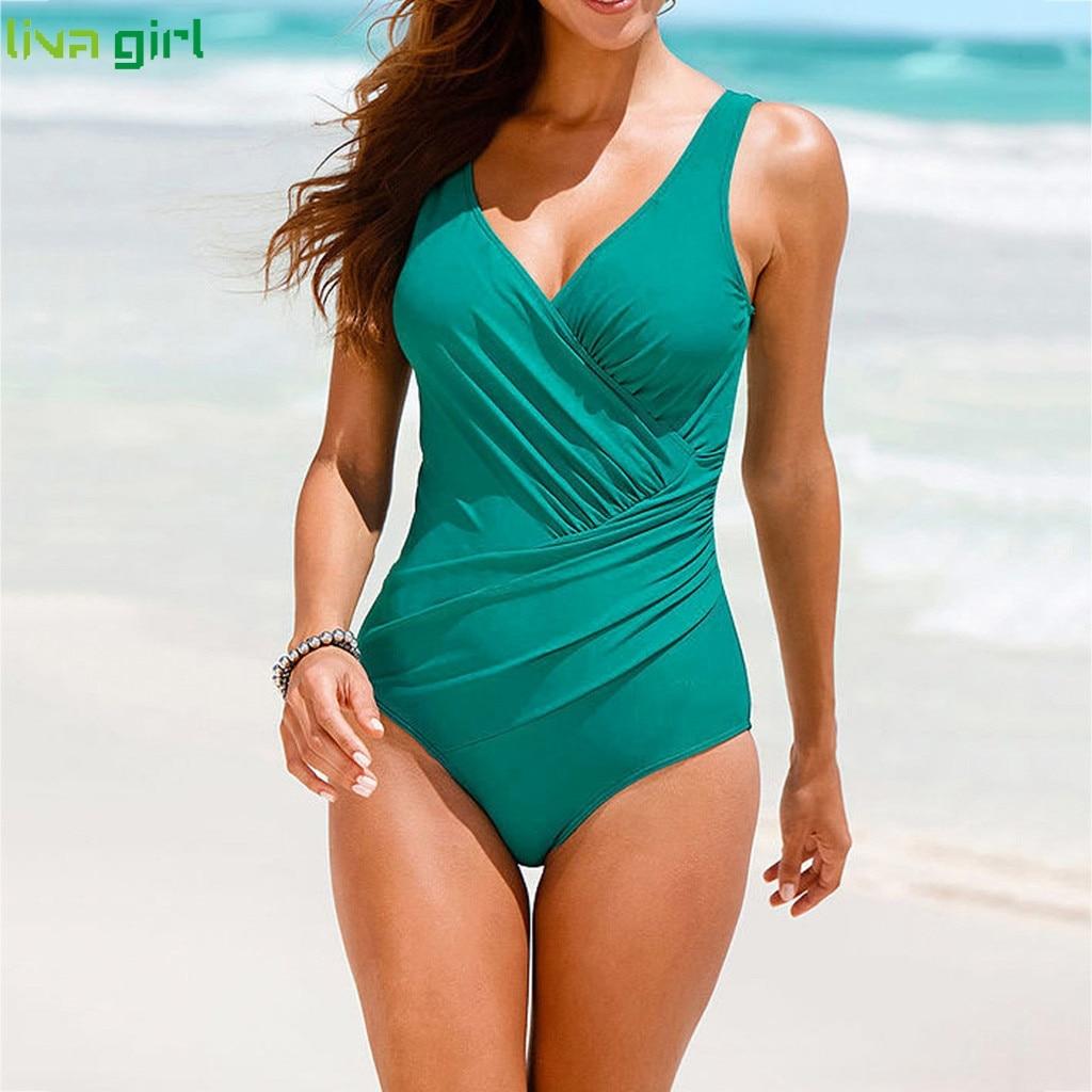 Liva girl Sexy Black One-Piece Suits new 2019 Push-Up Padded Brazilian Swimsuit hot Set Beach Monokini Bathing Swimwear Bikini