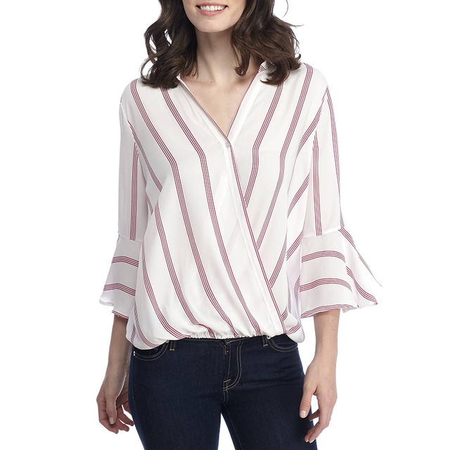 9bd2d37010f27 Womens 3 4 Sleeve Striped Shirt Casual V Neck Loose Blouse Tops 2018 Spring  Women Flare Sleeve Clothing Elegant Blusas