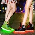 Chaussures led Nova Moda USB de Carregamento Luzes led sapatos Casuais Uinsex Sapatos sapatos levaram para adultos preto e branco tamanho 35-39