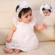 New Born Baby Girls Infant Dress Cotton Floral Snow White Baby Dress Christening Dress White Baby Girl Dresses 0 3 6 Months