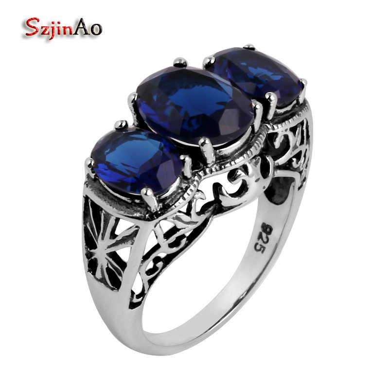Szjinao ขายโรงงานแฟชั่นเครื่องประดับโบราณขายส่งแหวนค็อกเทล 5.5 กะรัตสีน้ำเงินไพลินแท้ 925 แหวนเงิน