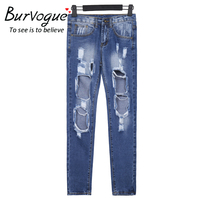 Burvogue 2016 Mid Waist Loose Style Summer Holiday Jeans For Girls New Fashion Women Hole Long