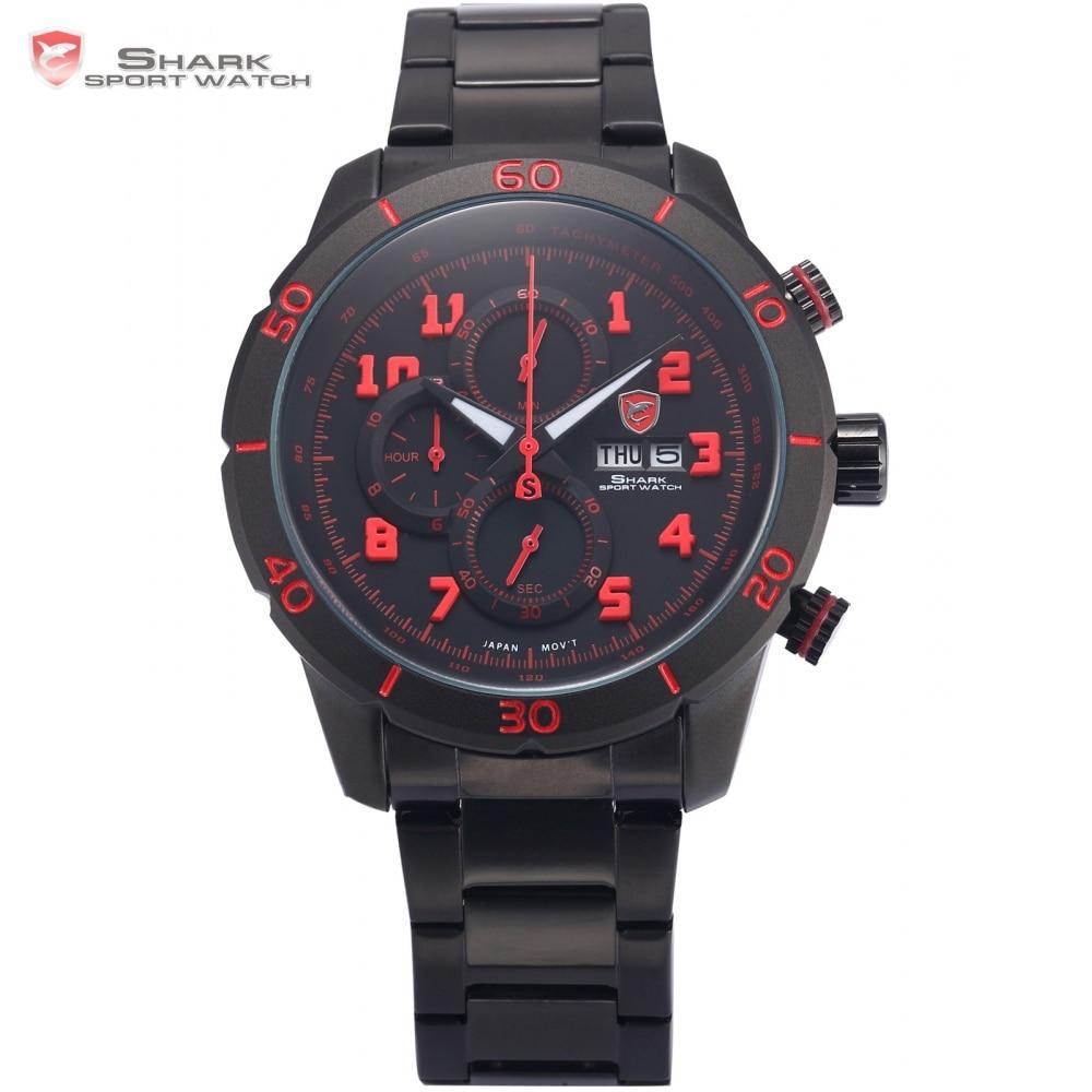 Gummy Shark Sport Watch Men Black Red 3 D Number Analog Calendar Stopwatch Quartz Stainless Steel Strap Watches +Gift Box /SH311 цена