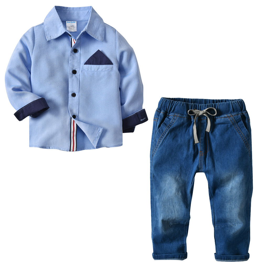 Spring Children Boys Gentlemen Clothing Sets Baby Pure Color Shirt+Jean Clothes Suits Toddle Kids Cotton Casual Costumes 2pcs casual kids hoodies clothes boys clothing 2pcs cotton shirt pants toddler boys clothing children suits baby boy clothes sets