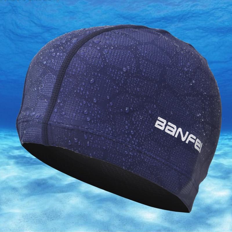 Unisex Elastic Waterproof Fabric Hat Protect Ears Long Hair Sports Swim Pool Hat Swimming Cap Free size for Men & Women Adults
