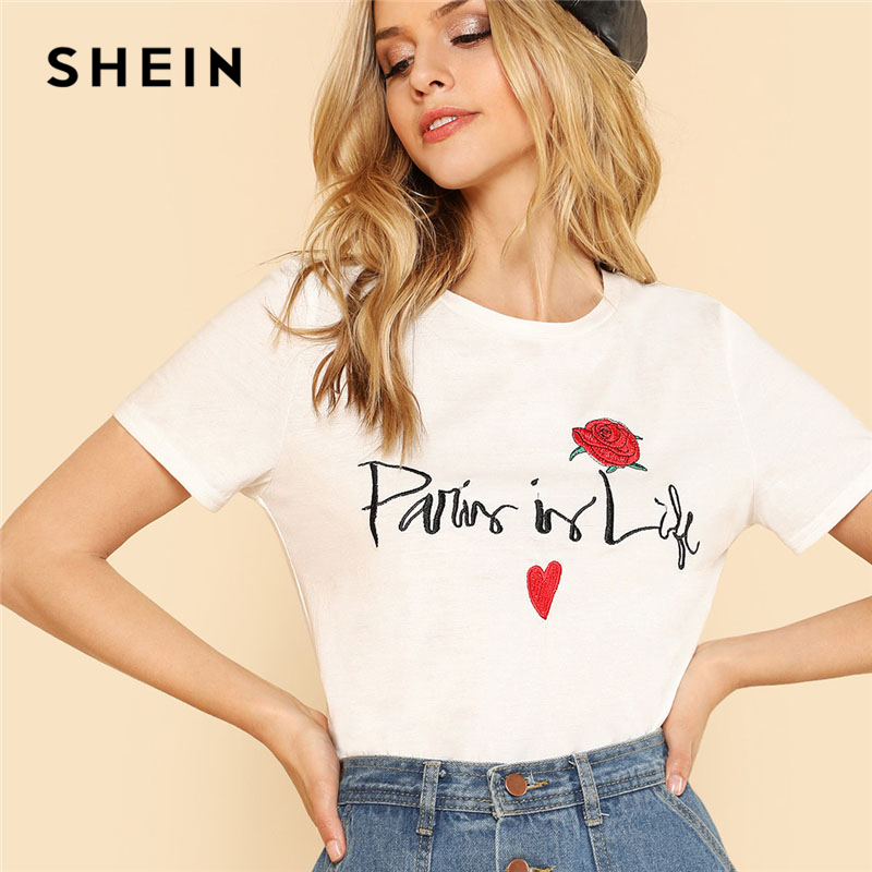 4f40ecee03 SHEIN Letter And Flower Embroidered Tee White Round Neck Short Sleeve Clothing  Women Cotton T shirt 2018 Summer Casual Top Tee-in T-Shirts from Women's ...