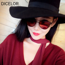 DICELOR 2017 Brand design new luxury womens sunglasses 2017 metal cat eye sunglasses pink mirror top quality party summer style