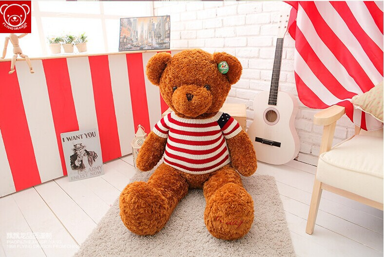 large 100cm sweater teddy bear plush toy USA flag teddy bear doll, throw pillow ,birthday gift w5363 fall in love teddy bear large 100cm plush toy night sleeping bear doll taking moon throw pillow christmas birthday gift x020