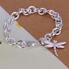 Fina del verano del estilo de plata chapada pulsera 925-sterling-silver joyería de la libélula pulseras de cadena para mujeres hombres SB282