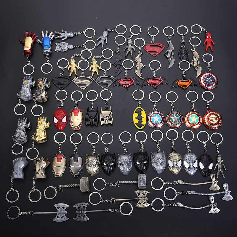 Marvel Avengers Captain America Iron Man Keychain Thor's Hammer Stormbreaker Superman Thanos Infinity Gauntlet Key Chains Figure