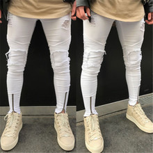 Zipper Stretch Knee Ripped Jeans Men Hole Clothing Skinny Fashion Brand Pants 2018 New