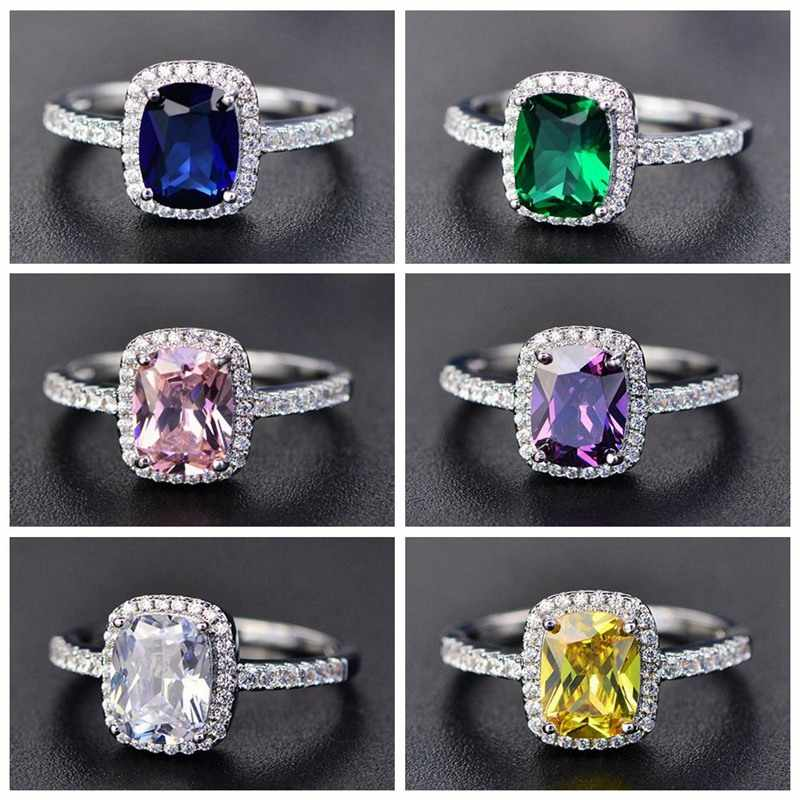 New Style White/Yellow/Purple/Blue/Green/Pink Crystal Rings For Women  Silver Colorful Ring Fashion Jewelry