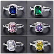 New Style White/Yellow/Purple/Blue/Green/Pink Crystal Rings For Women  Silver Colorful Ring Fashion Jewelry(China)