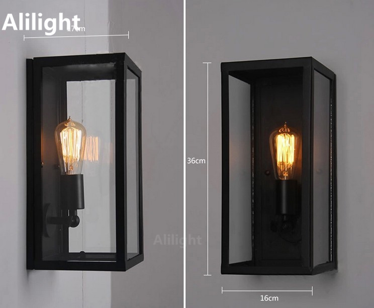 Clear glass cover outdoor retro e27 wall light metal frame glass
