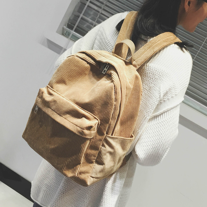 Autumn Winter Fashion Designer Women Backpacks Corduroy College Student Schoolbags For Teenagers Girls Shoulder Bags Travel