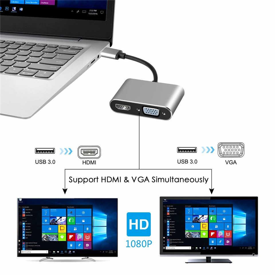 2020 USB 3,0 к HDMI VGA адаптер Mac OS USB к VGA HDMI адаптер 1080P конвертер Поддержка HDMI VGA синхронизация выход для Windows7/8/10