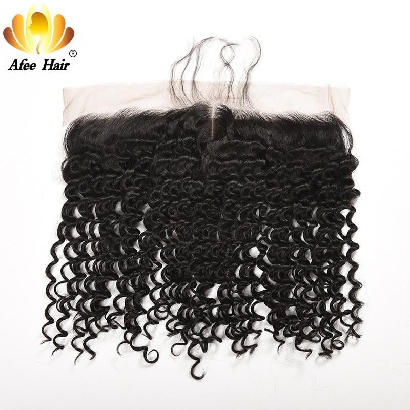 AliAfee Hair Brazilian Deep Wave Lace Frontal 13X4 Ear to Ear with Baby Hair Remy Human Hair 8-20 inches Brazilian Hair