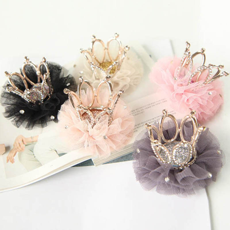 New Fashion Hairpin Baby Girl Alloy Flower Crown Hairpin Princess Bud Silk Crystal Hair