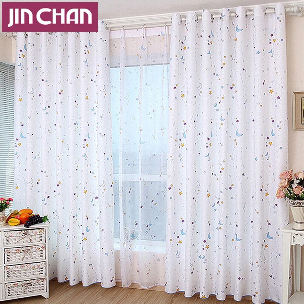 luna de la estrella blanca impresa cortinas blackout cortinas cortinas para la sala de estar cocina