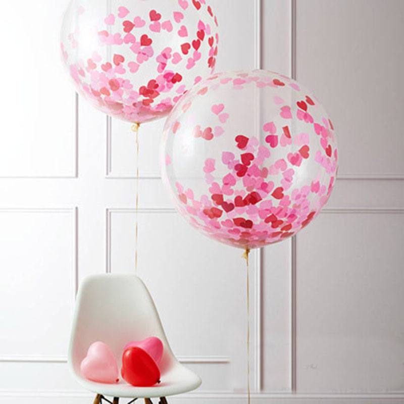 1P DIY Decorative 36 inch Transparent Clear Balloons Wedding Heart Paper Confetti Balloon Decorations Baby Shower Kids Favors