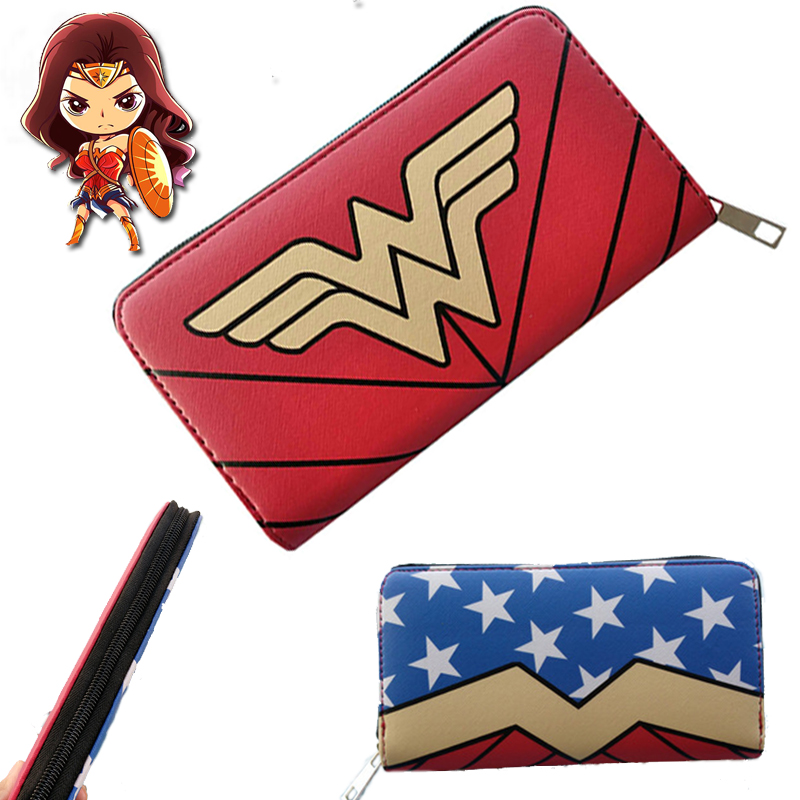 Wonder Woman Wallet Prints Leather Wallet Cosplay Clutch Long Section Women and Girls Fashion Bag
