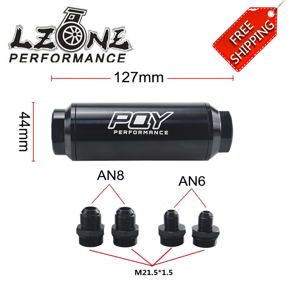 Free ship - ID=44mm BLACK New Fuel filter with 2pcs AN6 AN8 adaptor fittings with 60micron steel element With PQY logo JR5565(China)