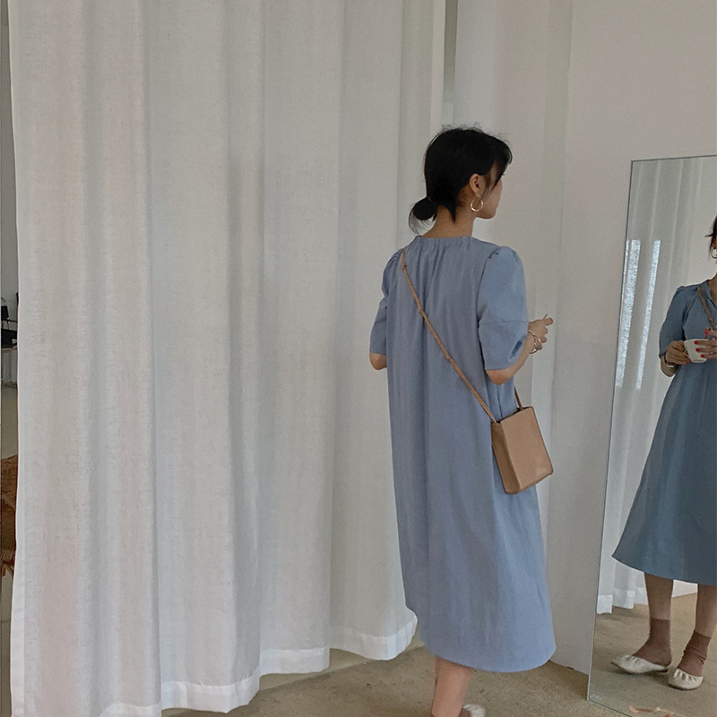 Blue Cotton Korean Cut Dress Summer Loose High Quality Women Dress with Half Sleeve V Neck Dresses To Mid Calf 2019 L80336 in Dresses from Women 39 s Clothing