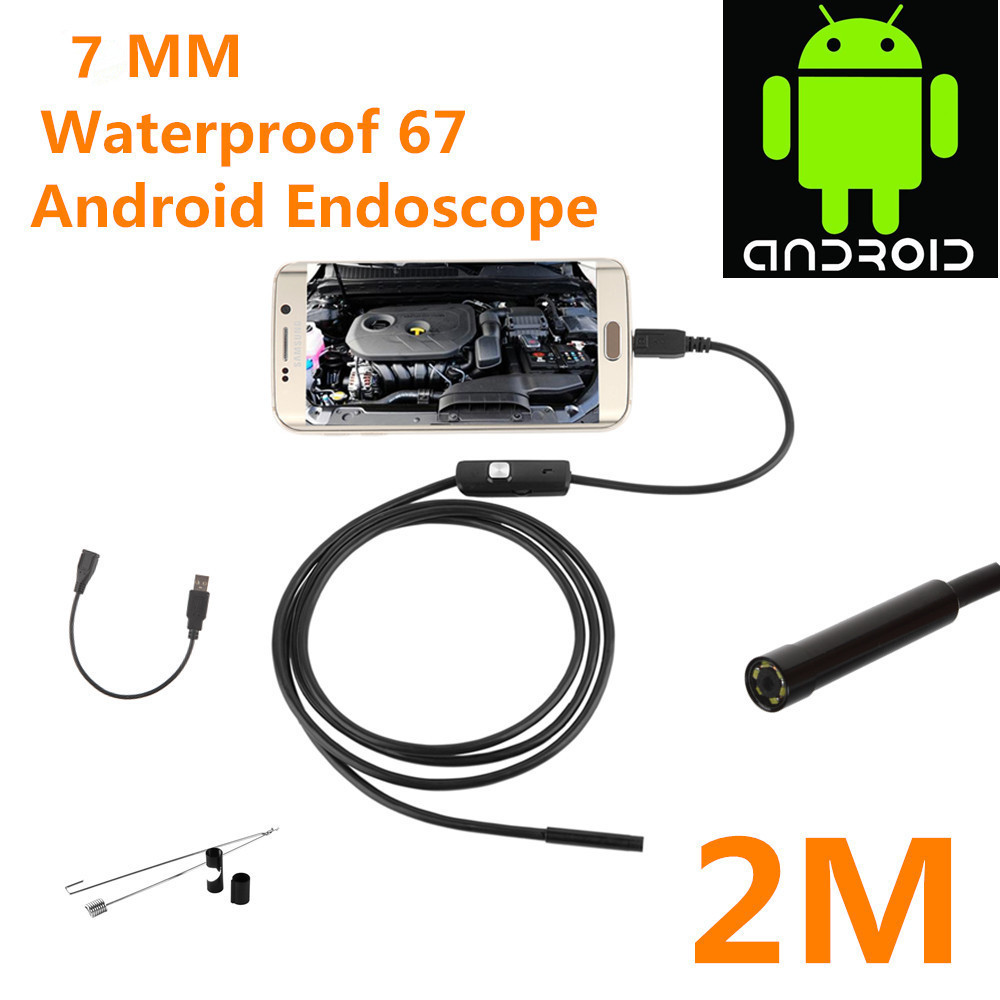 USB Endoscope 0.3MP Borescope 7mm 2M Cable Probe Waterproof Inspection Borescope 6 LEDs USB Wire Snake Tube Camera hot woman flats metal animal decor woman shoes pearl embellished woman loafers bow tie women shoes brand runway super star shoes