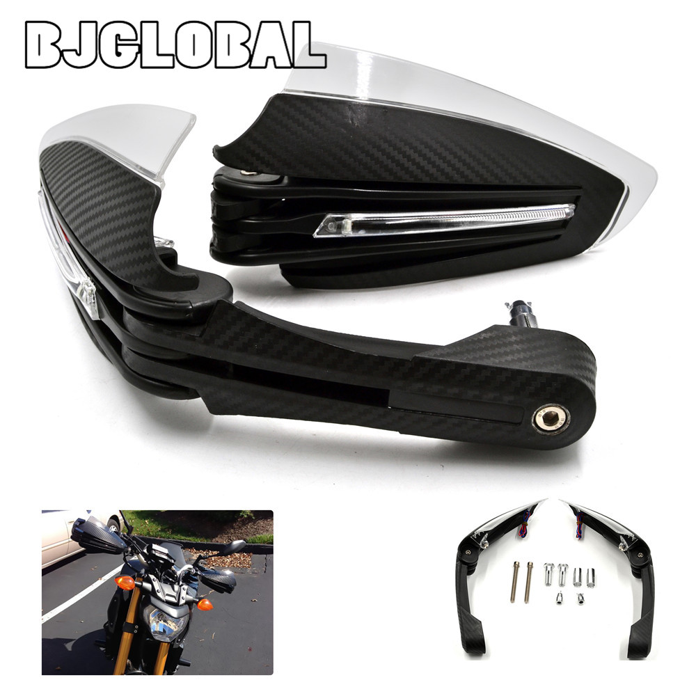 BJGLOBAL Motorcycle Pair Motorbike Handguards Protector Hand Guard W/ LED Turn Signal Running Lights For MT07 MT09 2013 2016