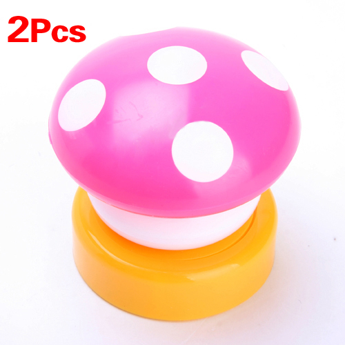 2X Colourful Mushroom Push/Touch LED Bedroom Night Light