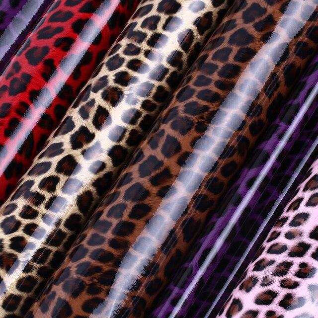 Tecido De Couro falso PU Glitter Elastic Leopard Pele de Couro Artificial do PLUTÔNIO De Couro para Material de costura De Couro De Animais Atacado