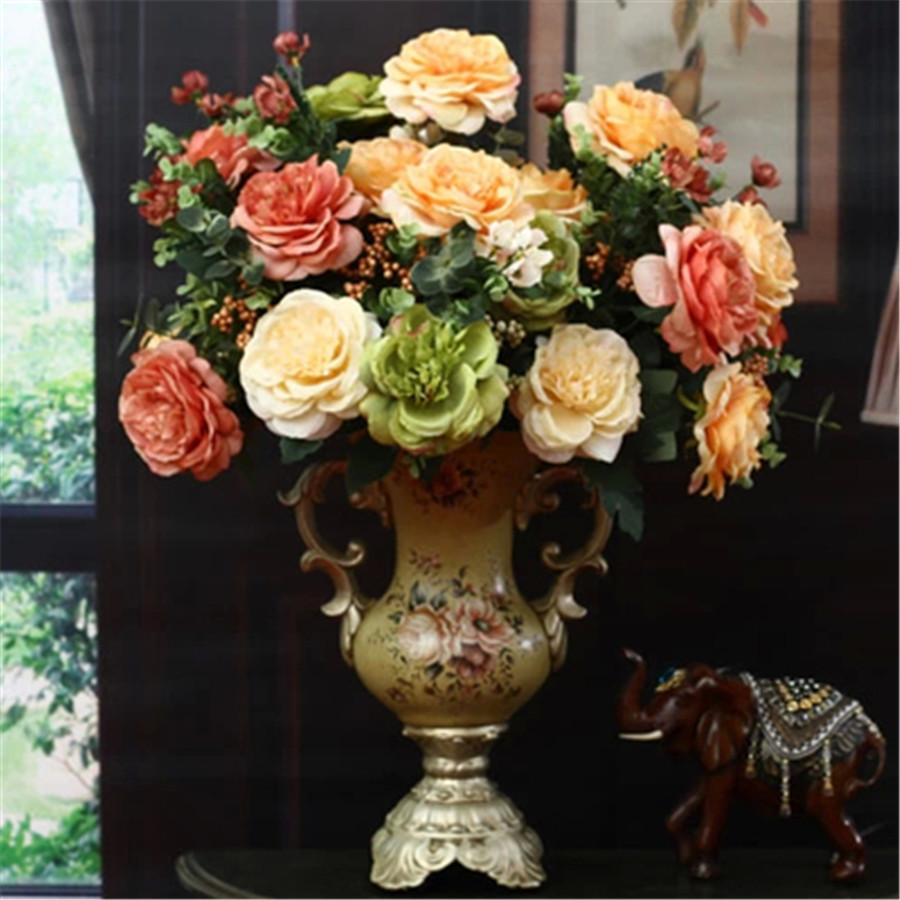 Wedding Decoration Large Artificial Roses Silk Peony Bouquet For
