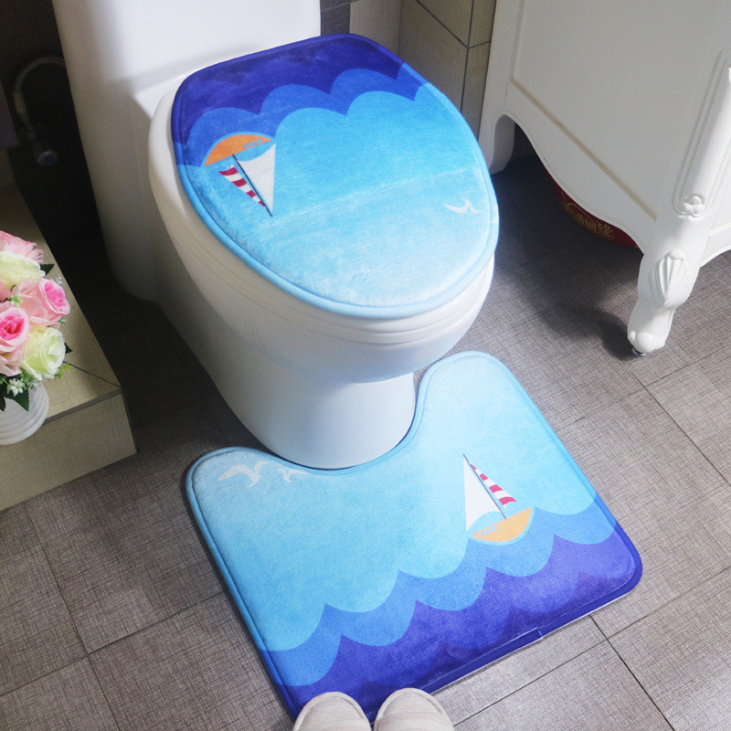 2 Pieces/set Cheap Bath Mat For Bathroom Toilet Cover,Ocean Style New  Arrival Bathroom Rug Floor Carpet Tapete Para Banheiro
