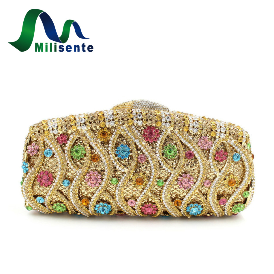 Luxury Evening Bag With Colourful Rhinestone Beautiful Flower Crystal Clutch Party And Wedding Purses Gold Silver Blue Pink milisente women luxury rhinestone clutch evening handbag ladies crystal wedding purses dinner party bag gold