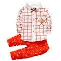 2016 Hot Nova Moda Crianças Roupas de Bebê Outono Meninos Barato marca Conjuntos de Roupas de Algodão Camisa Branca + Calças Meninos Da Criança roupas