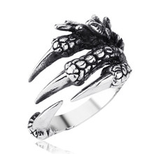 Solid Steampunk Paw Open Rings For Men Women Vintage Retro Thai Silver Handmade Process Jewelry C12