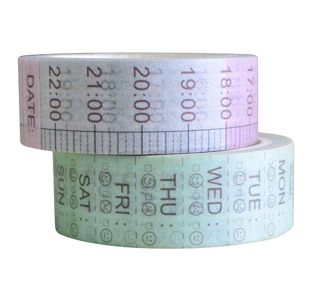 Creative Time Plan Washi Tape Gradient Color Adhesive Tape DIY Scrapbooking Sticker Label Masking Tape
