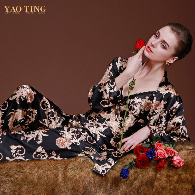 Aliexpress.com : Buy New Design Luxury Dragon Printed Silk Gown Robe ...