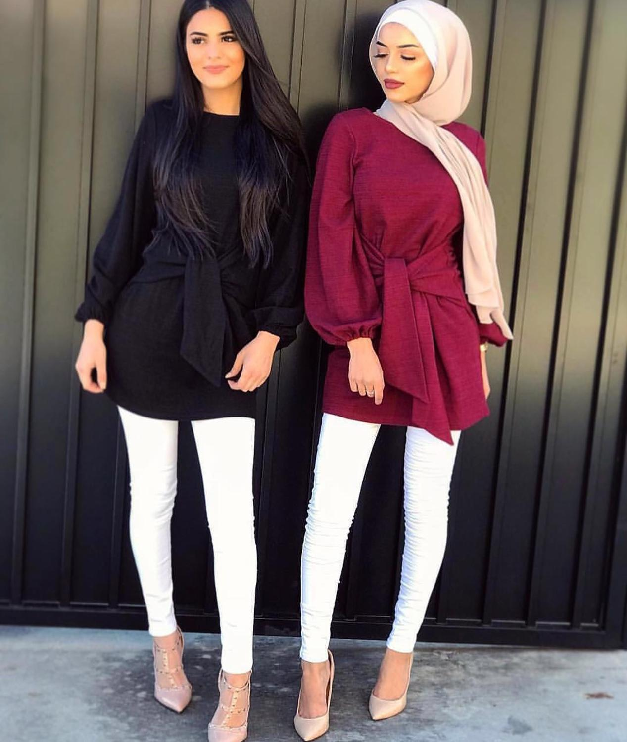 Elegant Women's Tops Muslim Blouse Shirt Dress Belt Long Abaya Robe Gowns Jubah Ramadan Arabic Dubai Kaftan Islamic Clothing